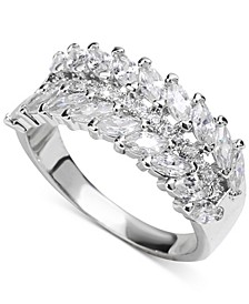 Silver-Tone Pavé & Marquise-Crystal Ring, Created for Macy's