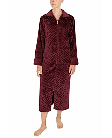 Sculptured French Fleece Long Zipper Robe