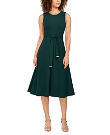 Belted Stretch Midi Dress