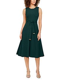 Calvin Klein Belted Stretch Midi Dress