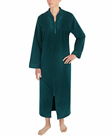 Petite Brushed-Back Terry Long Zip Robe