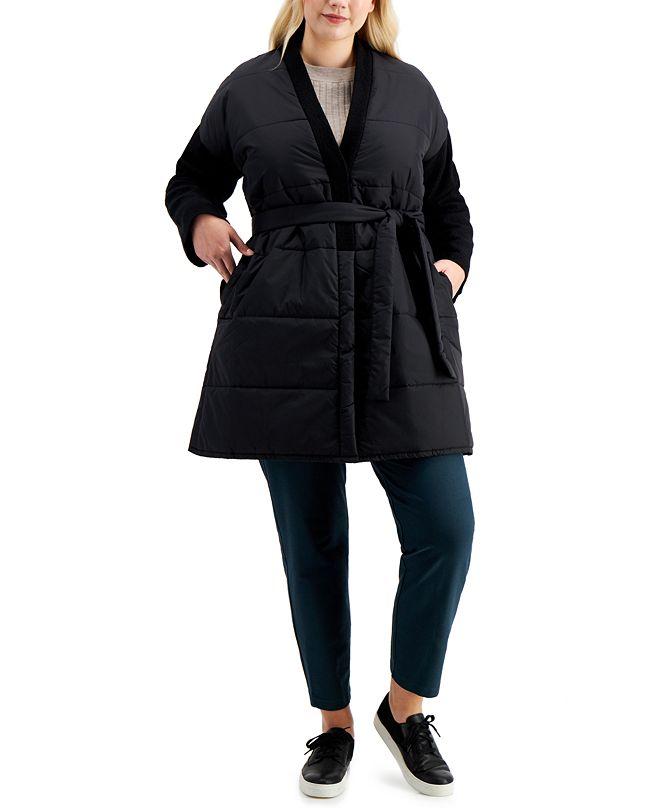 Eileen Fisher Plus Size Mixed-Media Coat