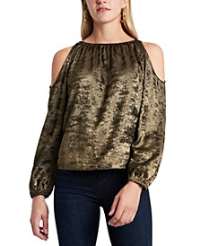 Cold-Shoulder Velvet Top