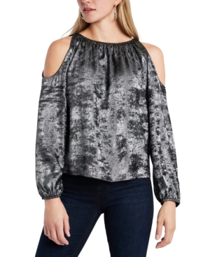 Image of 1.state Cold-Shoulder Velvet Top
