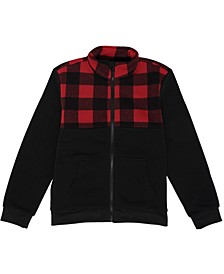 Big Boys Checkered Full Zip Fleece Jacket
