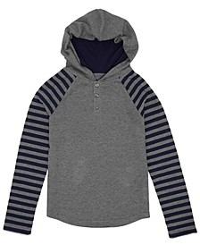 Big Boys Striped Sleeve Hooded Thermal Pullover