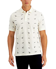 Men's Hound Dog Print Performance Stretch Polo, Created for Macy's