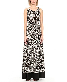 Embellished Animal-Print Maxi Dress