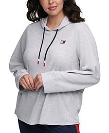 Plus Size Waffle Rib Hoodie T-Shirt