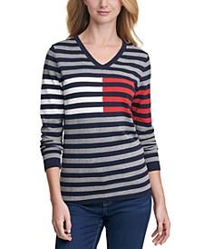 Colorblock Striped Cotton Sweater