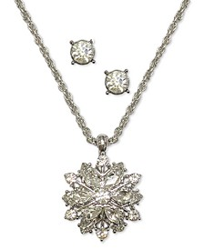 Silver-Tone Crystal Snowflake Pendant Necklace & Stud Earrings Set, Created for Macy's