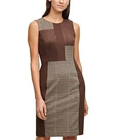 Mixed-Media Plaid Sheath Dress
