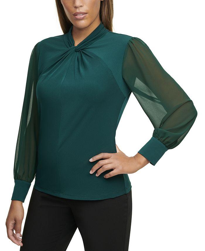 Calvin Klein - Plus Size Twist-Neck Chiffon-Sleeve Top