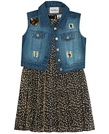 Big Girl Printed Pleated Dress With Denim Vest