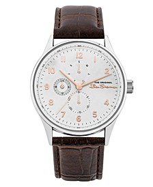 Men's Brown Synthetic Leather Strap Multifunction Watch, 41mm