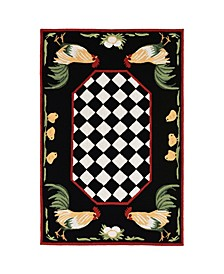 """Liora Manne Frontporch Rooster Black and Gray 5' x 7'6"""" Area Rug"""