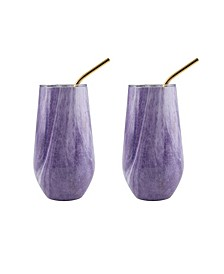 16 Oz Geode Decal Stainless Steel Wine Tumblers with Straw, Pack of 2