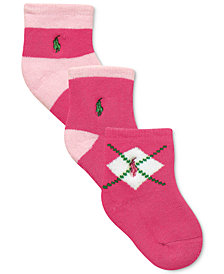 Ralph Lauren Baby Girls Argyle Crew Socks 3-Pack