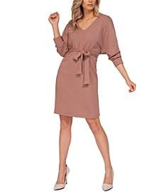 Dolman-Sleeve Ribbed Midi Dress