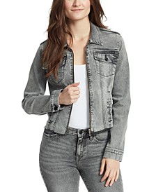 Farrah Zip-Front Denim Jacket