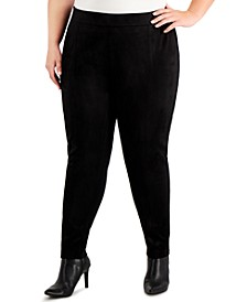 Plus Size Faux-Suede-Front Pull-On Pants
