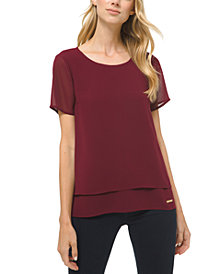 Michael Michael Kors Short-Sleeve Layered-Look Top, Regular & Petite Sizes