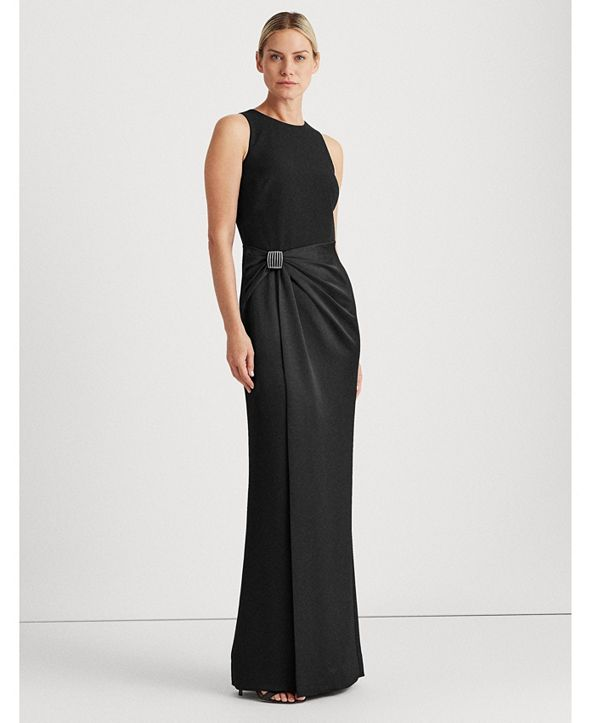 Lauren Ralph Lauren Satin-Crepe Sleeveless Gown