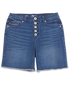 Button-Fly Fray-Hem Denim Shorts, Created for Macy's
