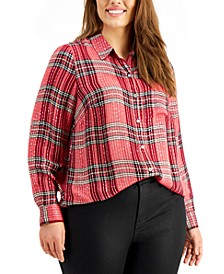 Plus Size Plaid Sparkle Boyfriend Top, Created for Macy's