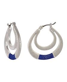 Silver-Tone Thread Wrap Hoop Earrings