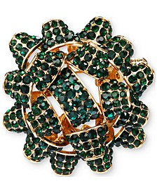 Gold-Tone Crystal Gift Bow Pin, Created for Macy's