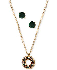 Gold-Tone Crystal Wreath Pendant Necklace & Stud Earrings Set, Created for Macy's
