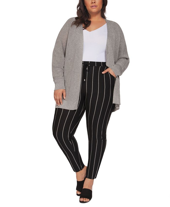Black Tape - Plus Size Metallic Open-Front Cardigan