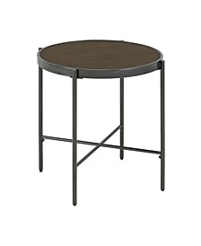 Carlo Round End Table with Wooden Top