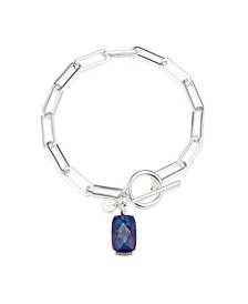 Fine Silver Plated Genuine Lapis Stone Toggle Link Bracelet
