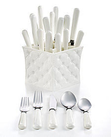 QSquared Provence White 20-Piece Flatware Set with Caddy