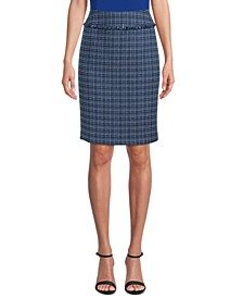 Tweed Fringed Pencil Skirt