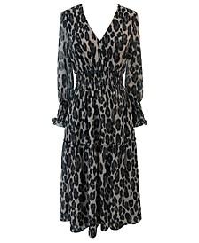 Petite Animal-Print Smocked-Chiffon A-Line Dress
