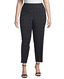 Plus Size Plaid Straight-Leg Pants