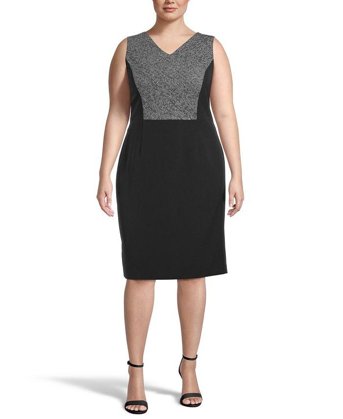 Kasper - Plus Size Sleeveless Colorblocked Sheath Dress