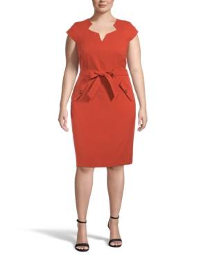 Plus Belted Sheath Dress