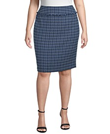 Plus Size Fringe-Trimmed Tweed Pencil Skirt