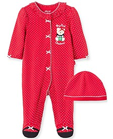 Little  Me Baby Girl Holiday Bear Footie and Hat