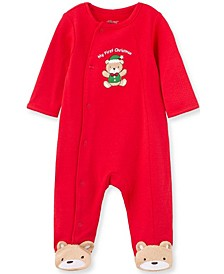 Little  Me Baby Boy and Girl Holiday Bear Footie
