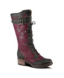 Women's Kisha Tall Combat-Style Lace-Up Narrow Calf Boots