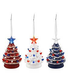 Set of 3 Mini Lit Patriotic Nostalgic trees