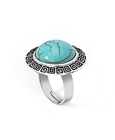 Simulated Turquoise in Fine Silver Plated Round Greek Key Adjustable Ring