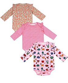 Earth Organic Baby Girl 3-Piece Amy Bodysuit Set