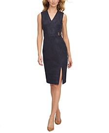 Scuba-Crepe Faux-Suede Buckle-Detail Sheath Dress