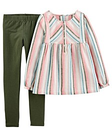 Big Girl 2-Piece Striped Linen Top & Legging Set